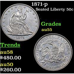1871-p Seated Half Dollar 50c Grades Choice AU