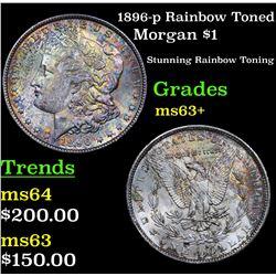 1896-p Rainbow Toned Morgan Dollar $1 Grades Select+ Unc