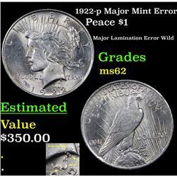1922-p Major Mint Error Peace Dollar $1 Grades Select Unc