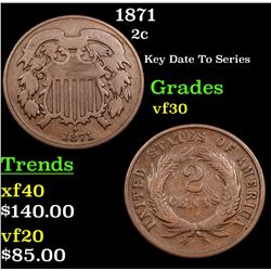 1871 Two Cent Piece 2c Grades vf++