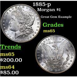 1885-p Morgan Dollar $1 Grades GEM Unc