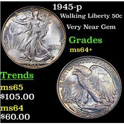 1945-p Walking Liberty Half Dollar 50c Grades Choice+ Unc