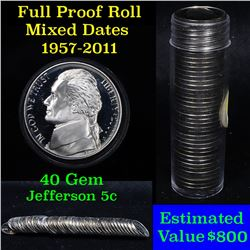 ***Auction Highlight*** Proof Mixed Jefferson nickel 5c roll, 1957-2011, 40 pieces (fc)