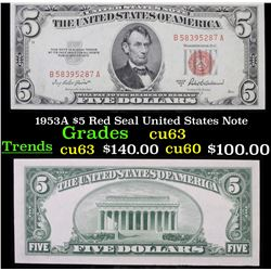 1953A $5 Red Seal United States Note Grades
