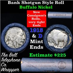 Buffalo Nickel Shotgun Roll in Old Bank Style 'Bell Telephone'  Wrapper 1915 & d Mint Ends
