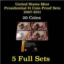Group of 5 United States Mint Presidential Dollar Proof Sets 2007-2011 20 coins
