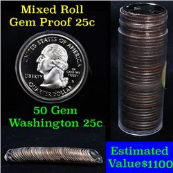 ***Auction Highlight*** Proof Mixed Washington Quarter 25c roll date range 1968-2008, 40 pieces (fc)