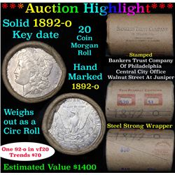 ***Auction Highlight*** Full solid date 1892-o Morgan silver $1 roll, 20 coins (fc)