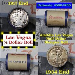 Old Casino 50c Roll $10 In Halves Aladdin Hotel Las Vegas 1934 & 1917 Walker Ends