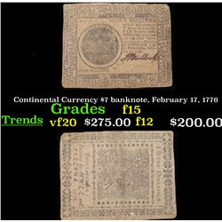 Continental Currency $7 banknote, February 17, 1776 Grades