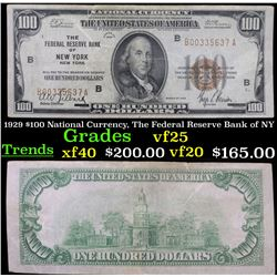 1929 $100 National Currency, The Federal Reserve Bank of NY Grades