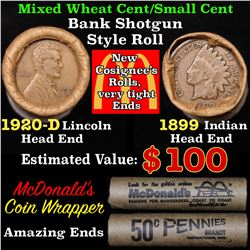 Mixed small cents 1c orig shotgun roll, 1920-d Wheat Cent, 1899 Indian Cent other end,McDnalds Wrapp