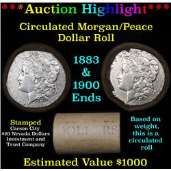 ***Auction Highlight*** Full Morgan/Peace silver dollar $1 roll $20 , 1883 & 1900 ends (fc)