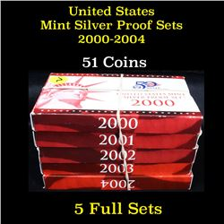 Group of 5 United States Mint Silver Proof Set 2000-2004 51 coins