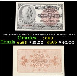 1893 Columbus Worlds Columbian Exposition Admission ticket Grades