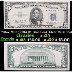 *Star Note 1953A $5 Blue Seal Silver Certificate Grades