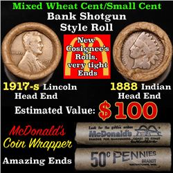 Mixed small cents 1c orig shotgun roll, 1917-s Wheat Cent, 1888 Indian Cent other end, McDonalds Wra