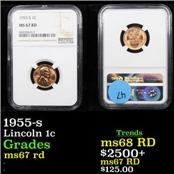 NGC 1955-s Lincoln Cent 1c Graded ms67 rd By NGC