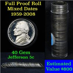 ***Auction Highlight*** Proof Mixed Jefferson nickel 5c roll, 1959-2008, 40 pieces (fc)