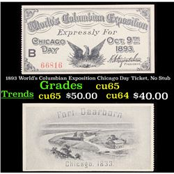 1893 World's Columbian Exposition Chicago Day Ticket, No Stub Grades