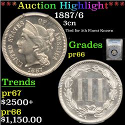 Proof ***Auction Highlight*** PCGS 1887/6 Three Cent Copper Nickel 3cn Graded pr66 By PCGS (fc)