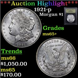 ***Auction Highlight*** 1921-p Morgan Dollar $1 Graded GEM+ Unc By USCG (fc)