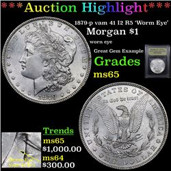 ***Auction Highlight*** 1879-p vam 41 I2 R5 'Worm Eye' Morgan Dollar $1 Graded GEM Unc By USCG (fc)