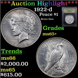 ***Auction Highlight*** 1922-d Peace Dollar $1 Graded GEM+ Unc By USCG (fc)