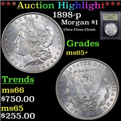 ***Auction Highlight*** 1898-p Morgan Dollar $1 Graded GEM+ Unc By USCG (fc)