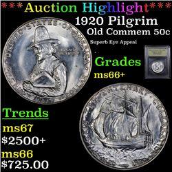 ***Auction Highlight*** 1920 Pilgrim Old Commem Half Dollar 50c Graded GEM++ Unc By USCG (fc)