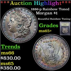 ***Auction Highlight*** 1886-p Rainbow Toned Morgan Dollar $1 Graded GEM+ Unc By USCG (fc)