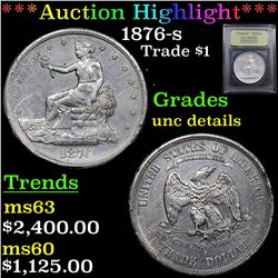 ***Auction Highlight*** 1876-s Trade Dollar $1 Graded Unc Details By USCG (fc)