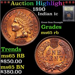 ***Auction Highlight*** 1890 Indian Cent 1c Graded GEM Unc RB By USCG (fc)