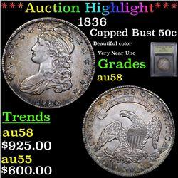 ***Auction Highlight*** 1836 Capped Bust Half Dollar 50c Graded Choice AU/BU Slider By USCG (fc)