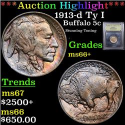 ***Auction Highlight*** 1913-d Ty I Buffalo Nickel 5c Graded GEM++ Unc By USCG (fc)