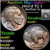 ***Auction Highlight*** 1913-d Ty I Buffalo Nickel 5c Graded GEM++ Unc By USCG (fc)