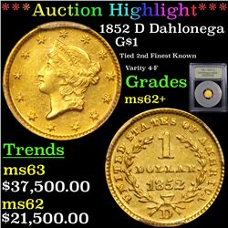***Auction Highlight*** 1852 D Dahlonega Gold Dollar $1 Graded Select Unc By USCG (fc)