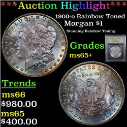 ***Auction Highlight*** 1900-o Rainbow Toned Morgan Dollar $1 Graded GEM+ Unc By USCG (fc)