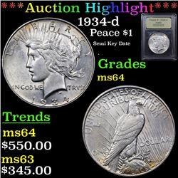 ***Auction Highlight*** 1934-d Peace Dollar $1 Graded Choice Unc By USCG (fc)