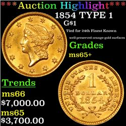 ***Auction Highlight*** 1854 TYPE 1 Gold Dollar $1 Graded GEM+ Unc By USCG (fc)