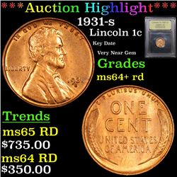 ***Auction Highlight*** 1931-s Lincoln Cent 1c Graded Choice+ Unc RD By USCG (fc)