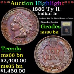 ***Auction Highlight*** 1886 Ty II Indian Cent 1c Graded GEM+ Unc BN By USCG (fc)