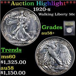 ***Auction Highlight*** 1920-s Walking Liberty Half Dollar 50c Graded Choice AU/BU Slider+ By USCG (