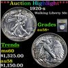 Image 1 : ***Auction Highlight*** 1920-s Walking Liberty Half Dollar 50c Graded Choice AU/BU Slider+ By USCG (