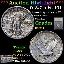 ***Auction Highlight*** 1918/7-s Fs-101 Standing Liberty Quarter 25c Graded BU+ By USCG (fc)