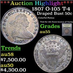 ***Auction Highlight*** 1807 O-105 T-4 Draped Bust Half Dollar 50c Graded Choice AU By USCG (fc)