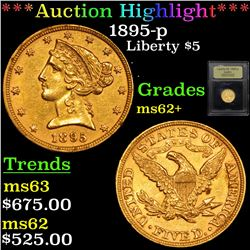 ***Auction Highlight*** 1895-p Gold Liberty Half Eagle $5 Graded Select Unc By USCG (fc)