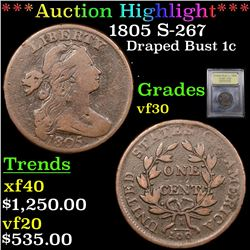 ***Auction Highlight*** 1805 S-267 Draped Bust Large Cent 1c Graded vf++ By USCG (fc)