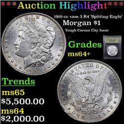 ***Auction Highlight*** 1891-cc vam 3 R4 'Spitting Eagle' Morgan Dollar $1 Graded Choice+ Unc By USC