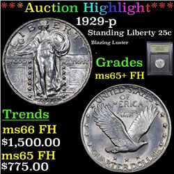 ***Auction Highlight*** 1929-p Standing Liberty Quarter 25c Graded GEM+ FH By USCG (fc)